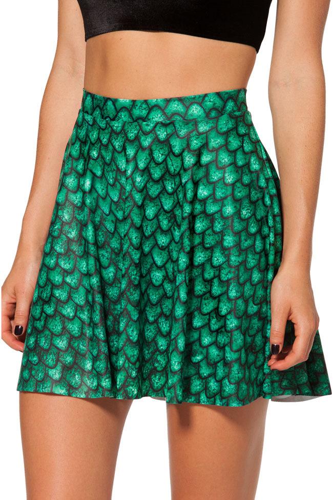 Summer new Saia 2014 Women Short Denim Skirt,Green Fish Scales Skirt Galaxy Digital Ball Gown Skater Mini Skirt
