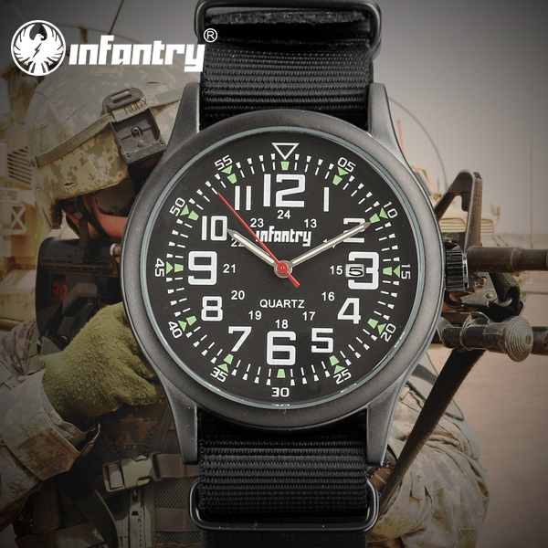 Promotion 2015 INFANTRY All Black Watch Army Auto Date Display Men's Quartz Analog Sport Wrist Watch Nylon Band Strap Watch(Hong Kong)