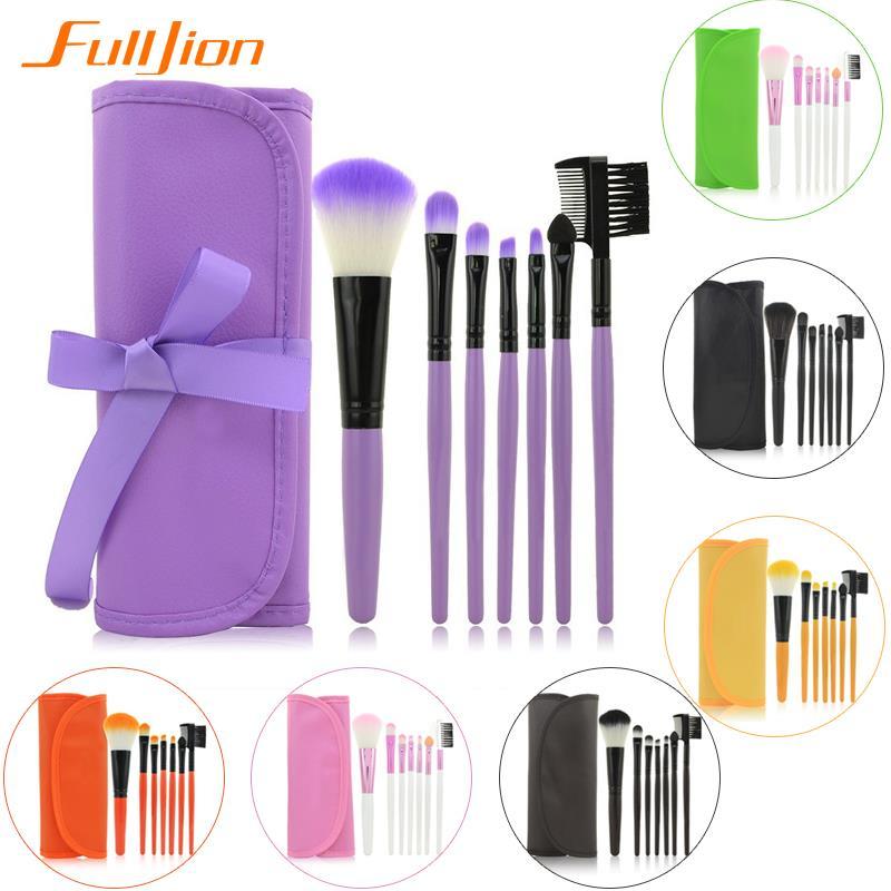 2016 Hot Professional 7 pcs Makeup Brush Set Tools Foundation Make-up Toiletry Kit Wool Brand Make Up Blush Brush Set Case Pink(China (Mainland))