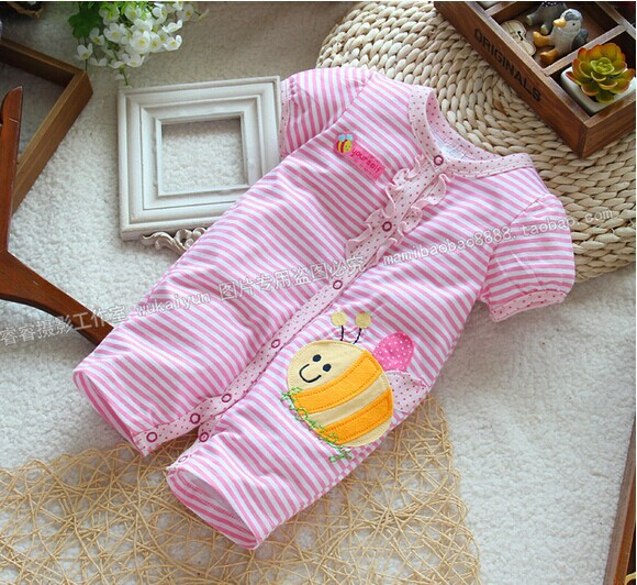 Hot 2014 new Summer&amp;spring baby clothing baby one-piece baby girl short-sleeve cute pig kids striped rompers baby brand overall<br><br>Aliexpress