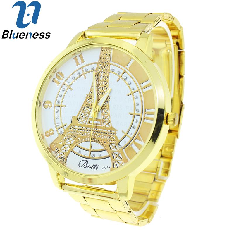 Blueness 46mm Big Women Gold Wrist Luxury Brand Watches For Ladies Quartz Clock Reloje Montre Femme Alloy Eiffel Tower Watch 272<br><br>Aliexpress