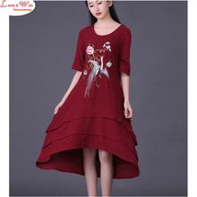 irregular flounce edge summer half-sleeve women embroidery sublimate long linen dress