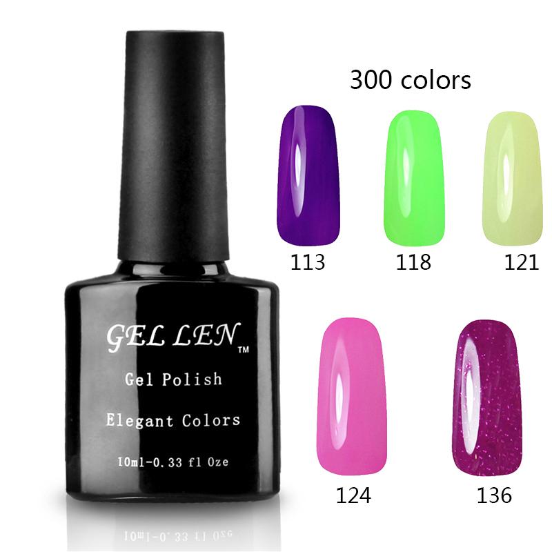 Gel Len 10ML LED Gel Polish DIY Nail Art Fashion Long Lasting Nail Polish High Quality 300 Colors Nail Gel Lacquer Professional(China (Mainland))