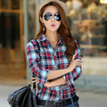 2016 Fashion New Autumn Spring Women Casual Long Sleeve Shirt Plaid Blouses Female Fashion Tights Office