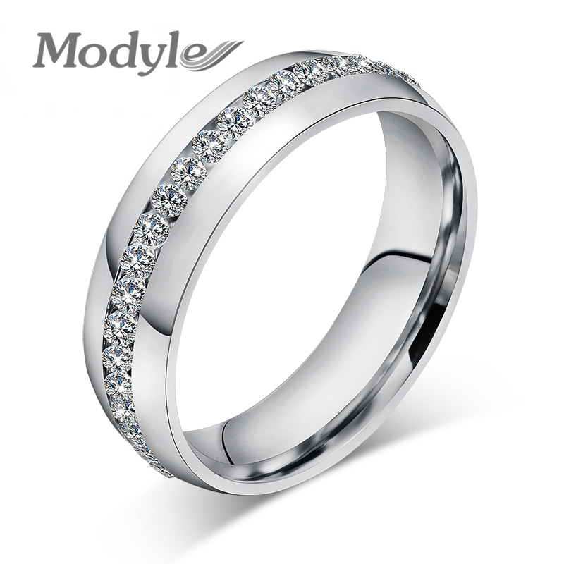 Modyle Fashion Wedding Design Stainless Steel Exquisite Inlaid Cubic Zirconia Ring for Women(China (Mainland))