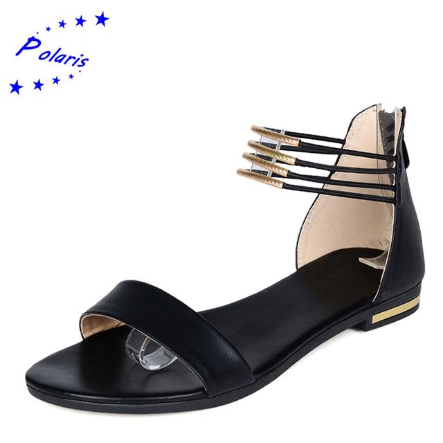 2016 квартир женщин SandalsGenuine кожа прибытие мода низкая HeelsSummer классика ...