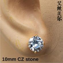 High quality fashion AAA zircon 14K Gold plated men stud earring brincos HipHop men jewelry bijouterie Franco statement earrings()