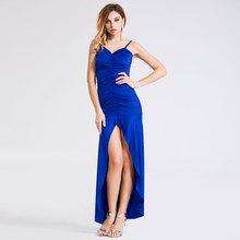 2016 new Women Deep V Sexy Backless Pleated Dress Elegant Gown Robe High Split Vestidos Longo Sleeveless Long Party Dresses