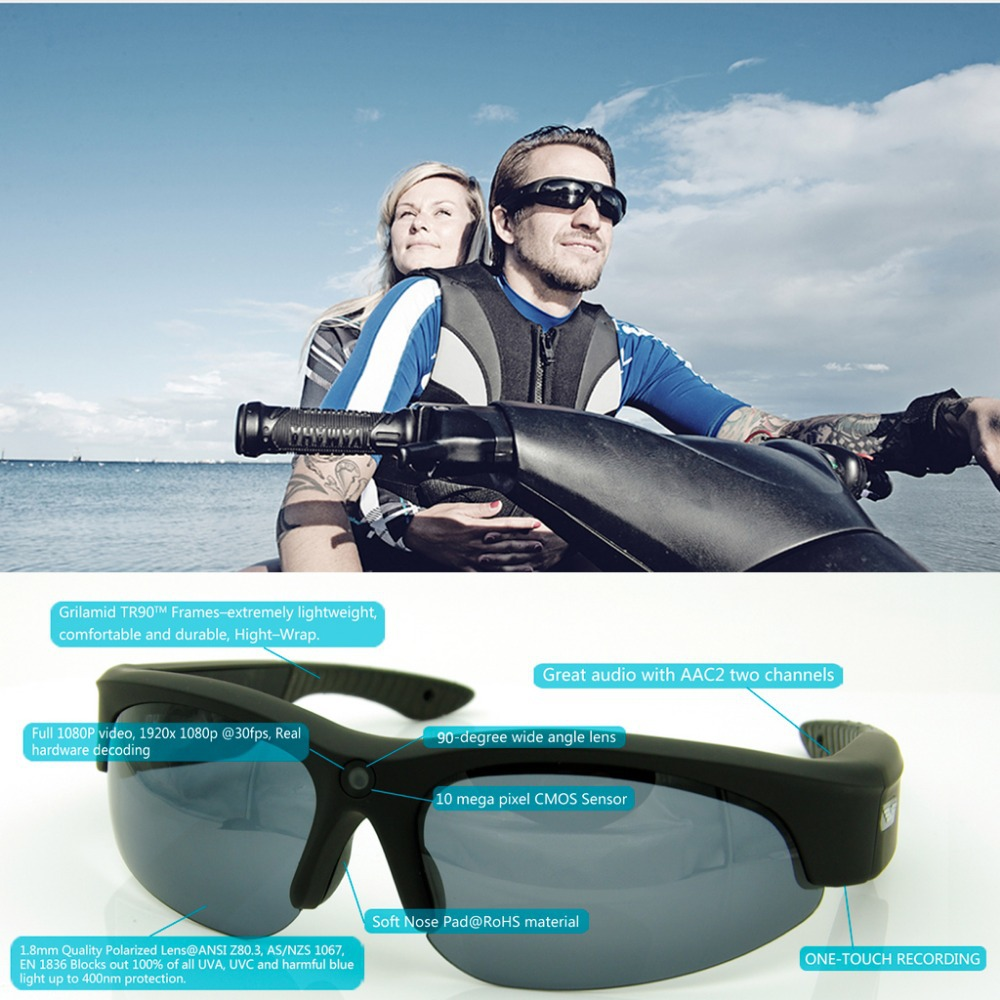 1080P HD Camera Glasses Video Recording Sport Sunglasses DVR Eyewear With 32G TF Card(1080P @ 30fps, 720P @ 60fps, Wide Angle)(China (Mainland))