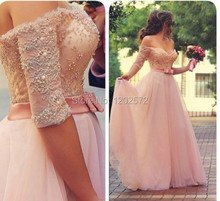 Pink Off the Shoulder Party Prom Dress 2015 Beaded Bodice Robe De Soiree Evening Gown with Belt Casamento Para Gala Summer Style(China (Mainland))