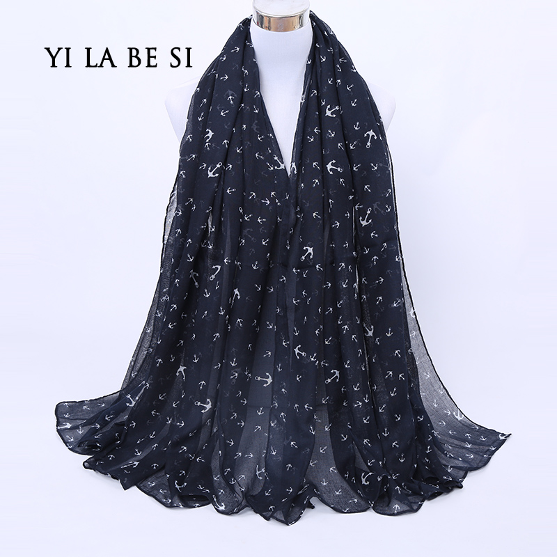 dark blue color new design women autumn winter scarf Anchor print voile scarf bufandas brand soft woman shawls and scarves(China (Mainland))