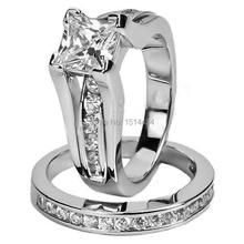 2.0 Carat Rhodium Ring Size 5-11 Wedding Band Set Engagement Princess Cut Halo