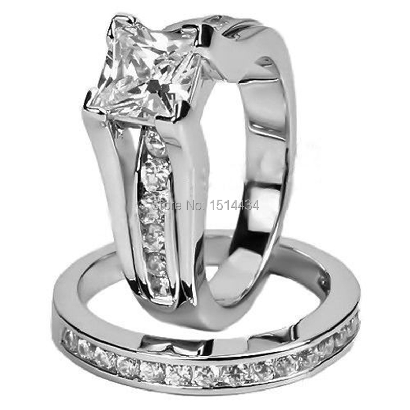 Women Size 5 6 7 8 9 10 11 Sterling Silver Princess Cut Engagement Double Ring Set(China (Mainland))