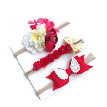 BalleenShiny 3 uds. Diadema de flores artificiales para niñas, cinta elástica de Nylon, cinta para el pelo para recién nacido, juego de sombreros para fiesta de cumpleaños(China)