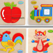 1pc  16 shape Hot Wooden Animals Kid  toys for Children Baby Educational kids toy Puzzle Cartoon Cat(China (Mainland))