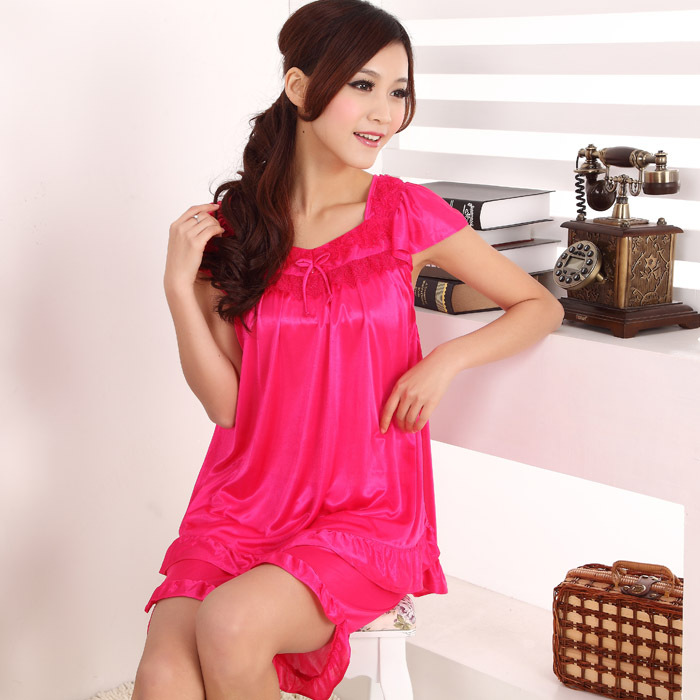 Hot ~ 2017 new summer fashion girls short sleeve sexy thin silk pajamas home service package free home delivery(China (Mainland))