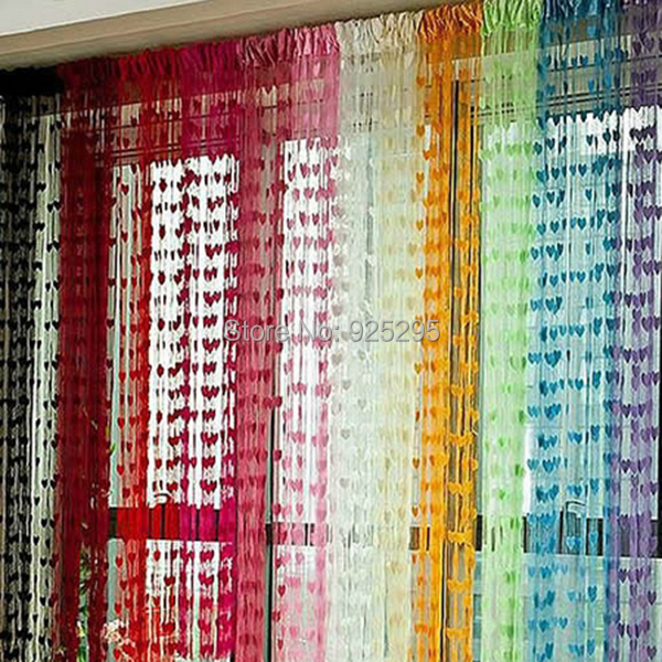 Hot sales JJ019 Curtains Cute Heart Line Tassel String Door Curtain Window Room Divider Curtain Valance Free Shipping(China (Mainland))