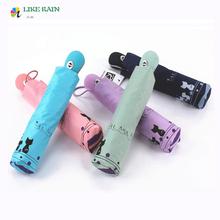 High Quality Romantic Cute Automatic Sunshade Umbrella Rain Women 2016 New Novelty Items Creative parasol Cat  Brand Umbrellas(China (Mainland))