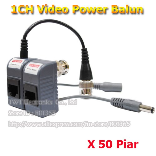 Wholesale Passive Video and Power Balun Transceiver CCTV Camera Video Power Balun Cat5 50Pairs/lot(China (Mainland))