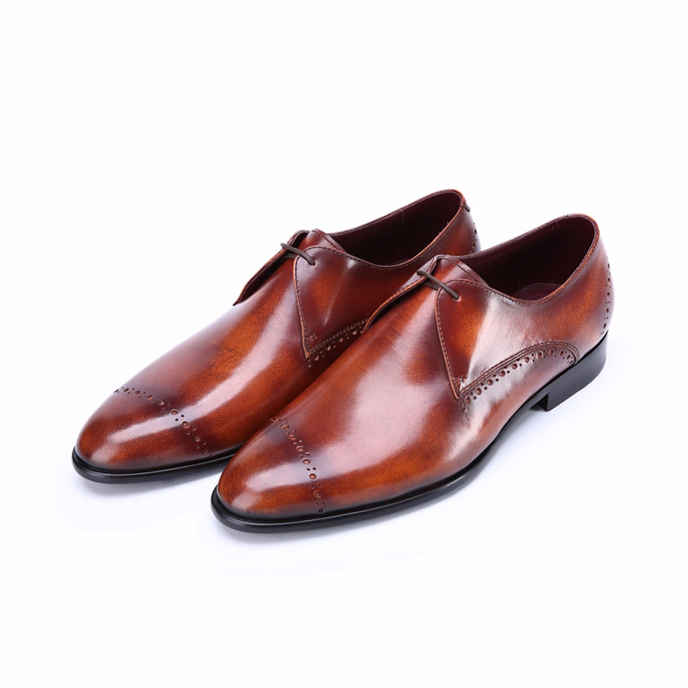 terse_sample support handmade leather derby shoes men orange goodyear welted engraving service drop shipment oem odm