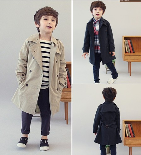 W 031 Free Shipping 2013 New Style Children Double Breasted Coat Fashion Boys Trench Coat Winter