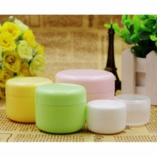 5pcs Refillable Bottles Plastic Empty Makeup Jar Pot Travel Face Cream/Lotion/Cosmetic Container 5 Colors 20/50/100g(China (Mainland))
