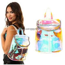 New Designer hologram rainbow effect Transparent backpack Clear  Purse IT bag Bolsa(China (Mainland))