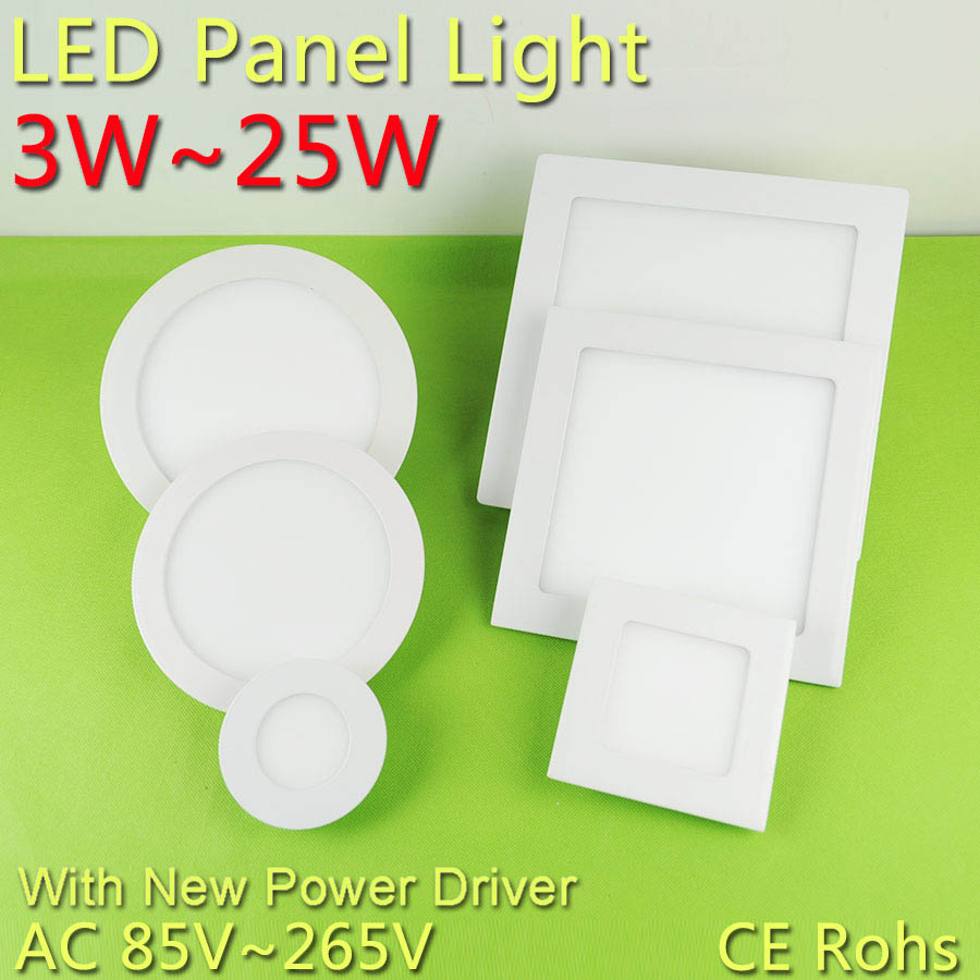 3w~25w Ultra Thin Round/Square Led Panel Light AC85-265V Downlight Ceiling Recessed LED Panel Light led down light lamp 15w 18w<br><br>Aliexpress