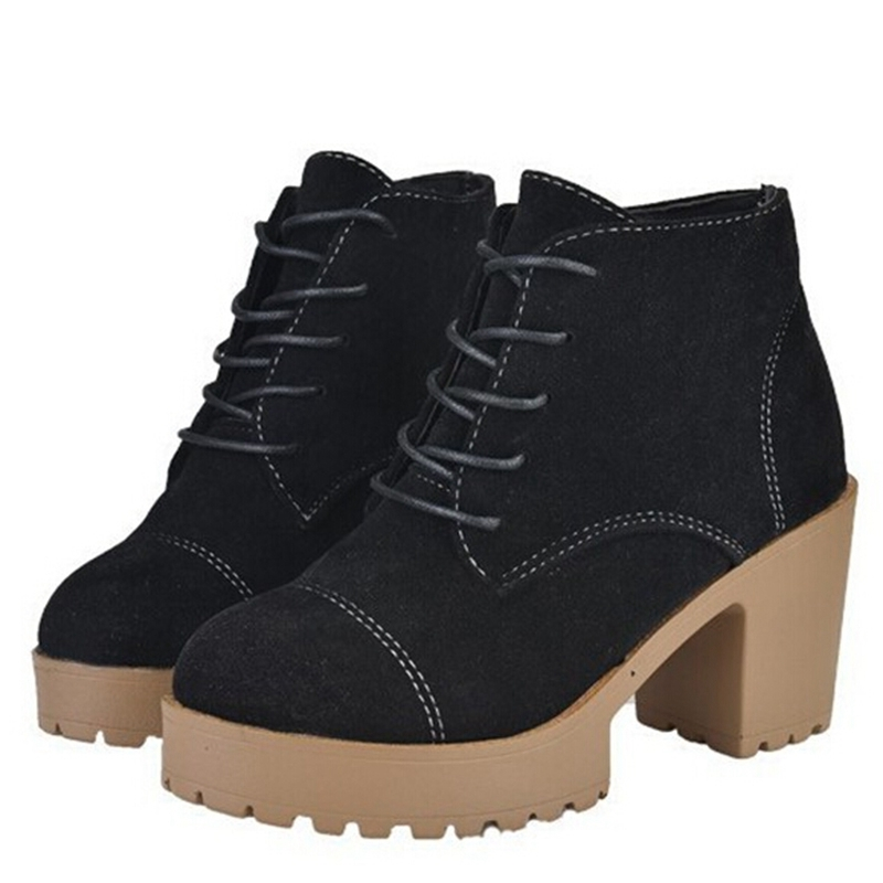 Super Cozy Women Boots 2015 Solid Lace-Up Cute Riding Boots with Platform 8CM High Heels Round Toe Bordered Autumn Shoes XWX2557(China (Mainland))
