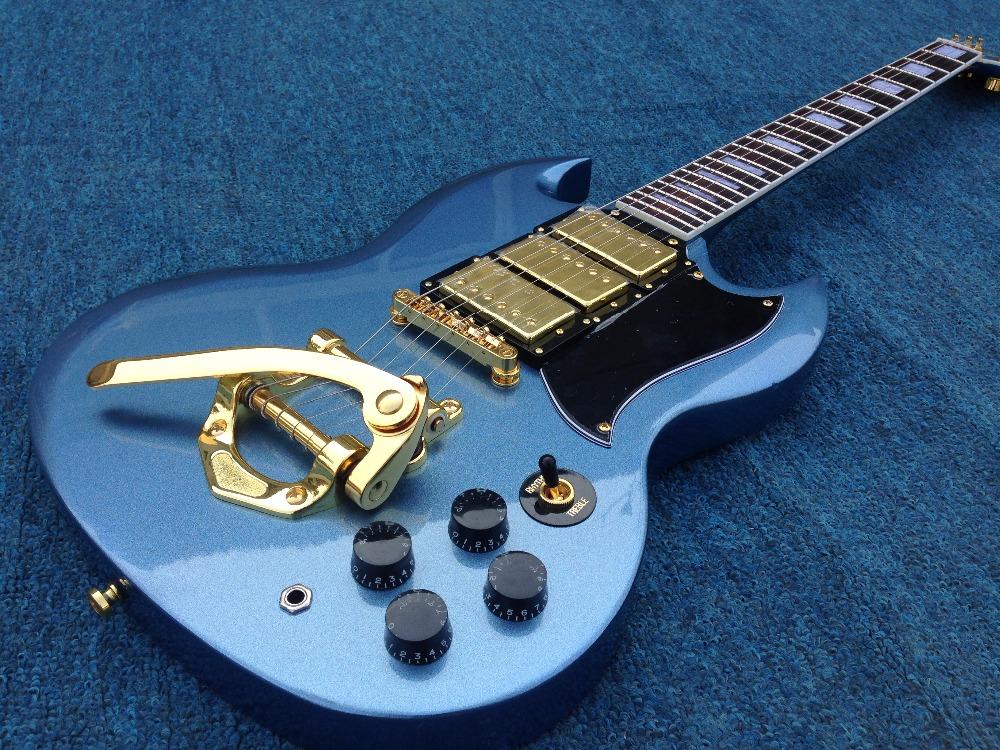 SG standard electric guitar ,bigsby bridge ,gold hardware ,3 humbuckers pickups(China (Mainland))
