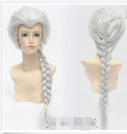 Free shipping>>> Beautiful Silver Long White Braided Ponytail Cosplay hair party Wig(China (Mainland))