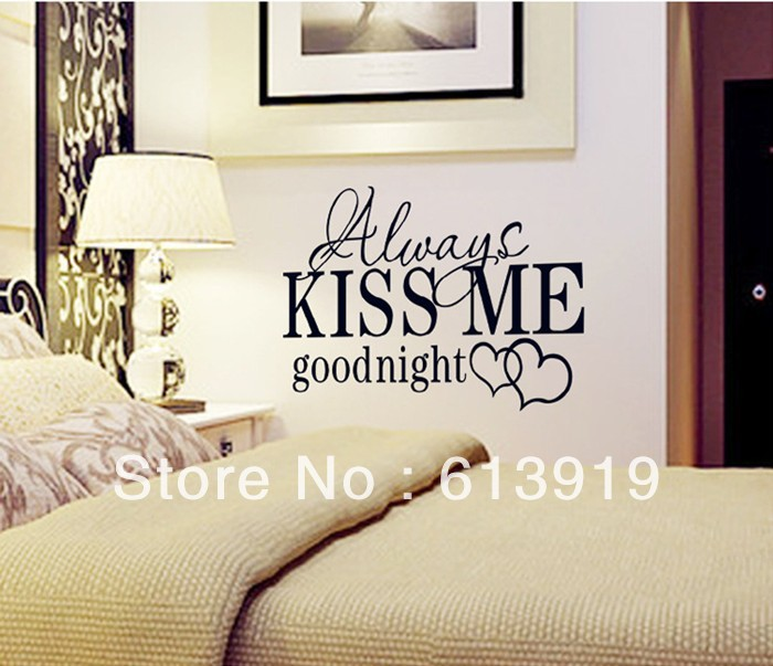 """New Design English Letter """" Always Kisss Me"""" Wall Stickers Quotes Art Vinyl Decor Bedroom - DIY Decoration Sky store"""