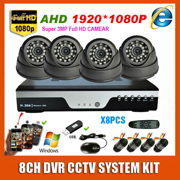 8 Channel 3MP Home Super HD 1920*1080P AHD Video Surveillance Indoor Mini White/Black Dome CCTV 8CH Security Camera System Kit(China (Mainland))