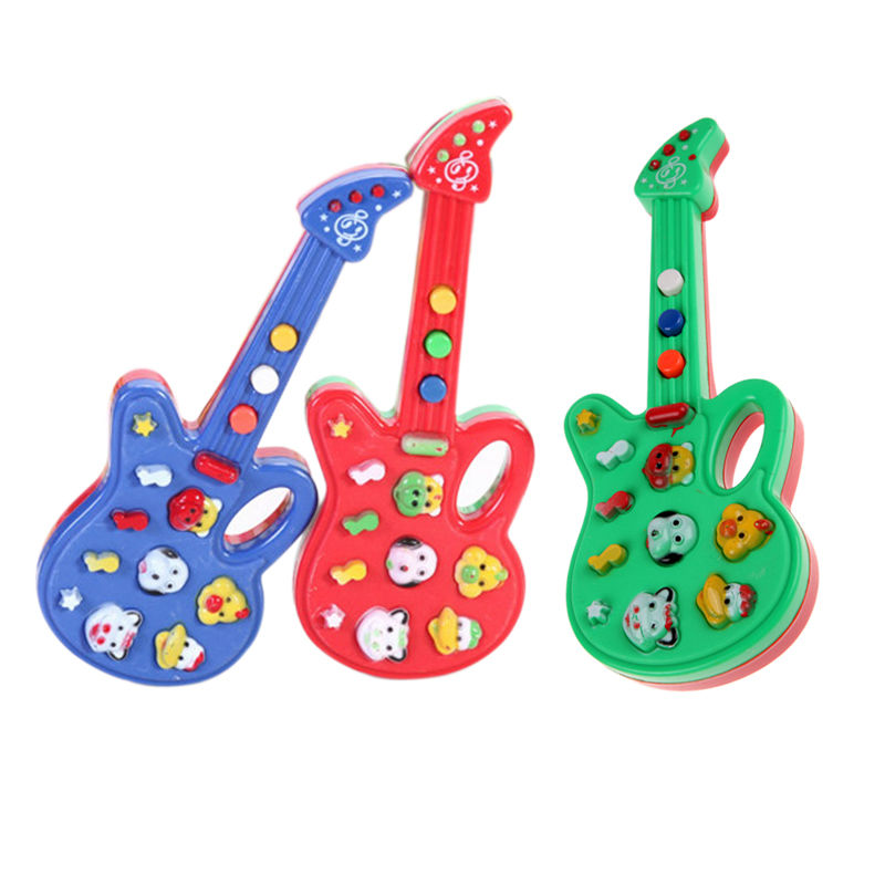 1Pcs Baby Kids Toy Guitar Plastic Foxy Electronic Guitar Rhyme Developmental Music Sound Toy Random Color K5BO(China (Mainland))