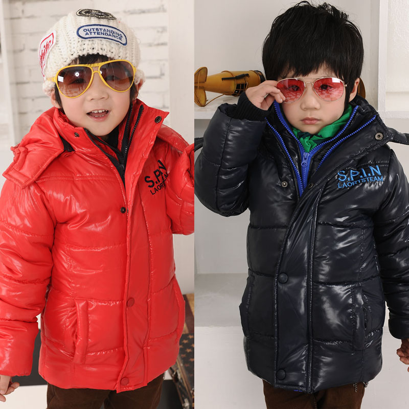 Free shipping winter boy clothing new year shiny windproof mirror faux two piece cotton coat outerwear<br><br>Aliexpress