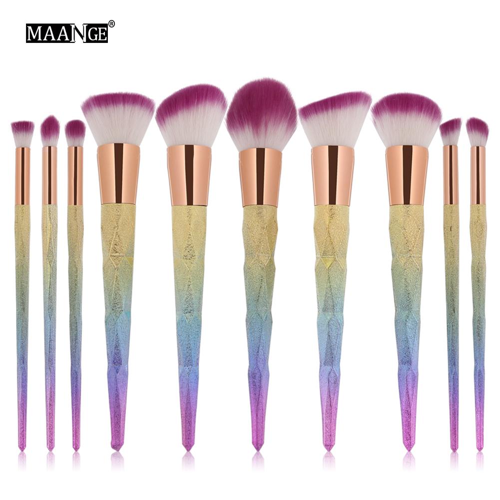 Recommend 10Pcs Diamond Shape Makeup Brush Set Foundation Power Cream Blusher Eyeshadow Eyebrow Brushes Beatuy Cosmetic tool Kit(China (Mainland))