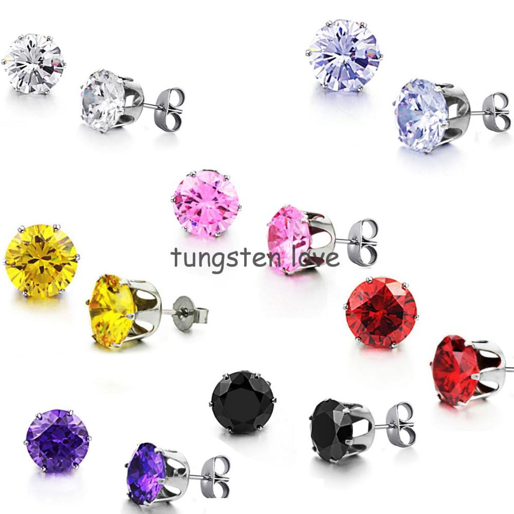 1cm Multicolor AAA+ CZ Stud Earrings Stainless Steel Cubic Zirconia Studs Fashion Party Wedding Jewelry For Women(China (Mainland))