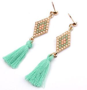 Мода ювелирных изделий 2015 новые серьги для женщин ромб личности жемчуг бусины веревка кисточкой серьги падения 176