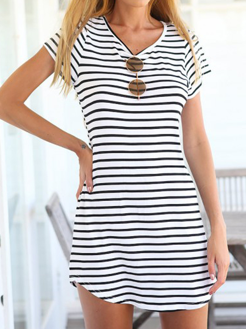 2015 Women Shirt Dress Top Tee Summer Style Short Sleeve Stripes Loose Casual Jersey Mini Shift Dress Long T-shirt(China (Mainland))