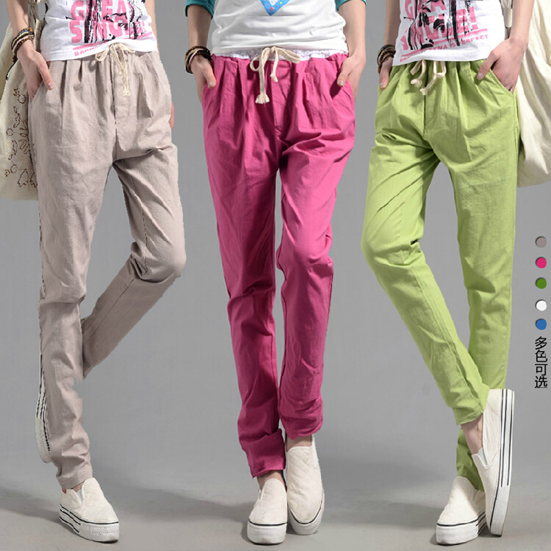 pantalones mujer 2015 summer Women Casual linen harem pants high waist Loose sport pencil trousers candy color plus size XXL - Women's fashion clothing store