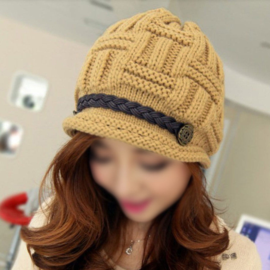 WSFS Hot New Women Baggy Beret Chunky Knit Knitted Braided Beanie Hat Ski Cap  yellow<br><br>Aliexpress