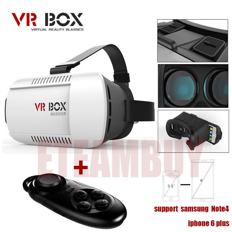 2015 Google cardboard VR BOX Version VR Virtual Reality Glasses Smart Bluetooth Wireless Mouse Remote Control