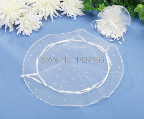 100pcs/lot 26cm/10inch white colour round Organza Wedding Gift Bags Pouches jewelry bags(China (Mainland))