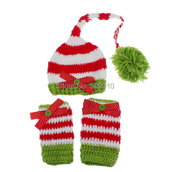 2015 NEW Newborn Christmas Stocking ELF Hats and Leg Warmers Set Crochet Pixie Hat With Legwarmers Girl Photo Props 1set H182(China (Mainland))
