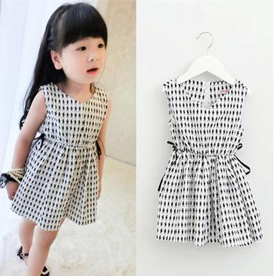 Meninas Vestir Limited Rushed Kids dress Brand 2014 Summer Cartoon Girls Dress O-neck Sleeveless Casual 4-10 Years Zipper Kids(China (Mainland))