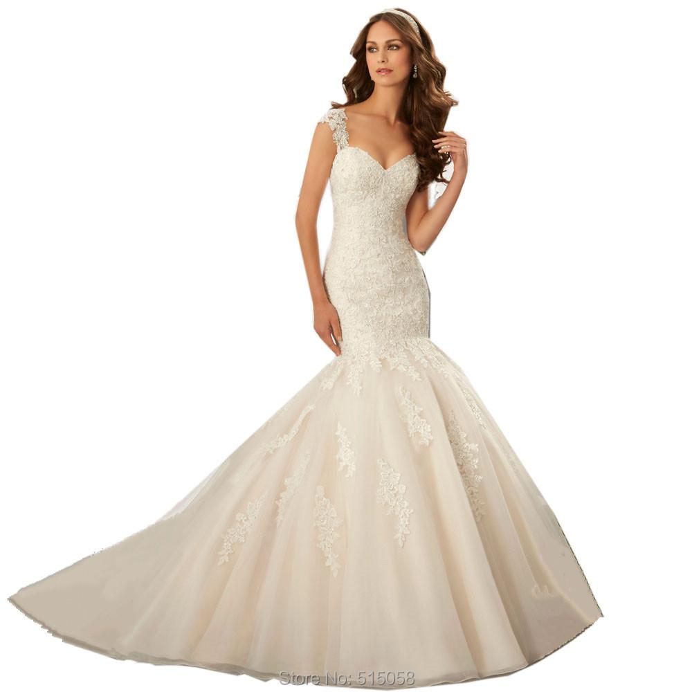 elegant lace sweetheart open back mermaid wedding dresses