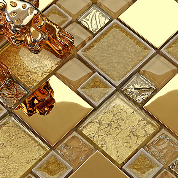 gold ceramic glass tiles mosaic manufacturers stainless steel wall panel(China (Mainland))