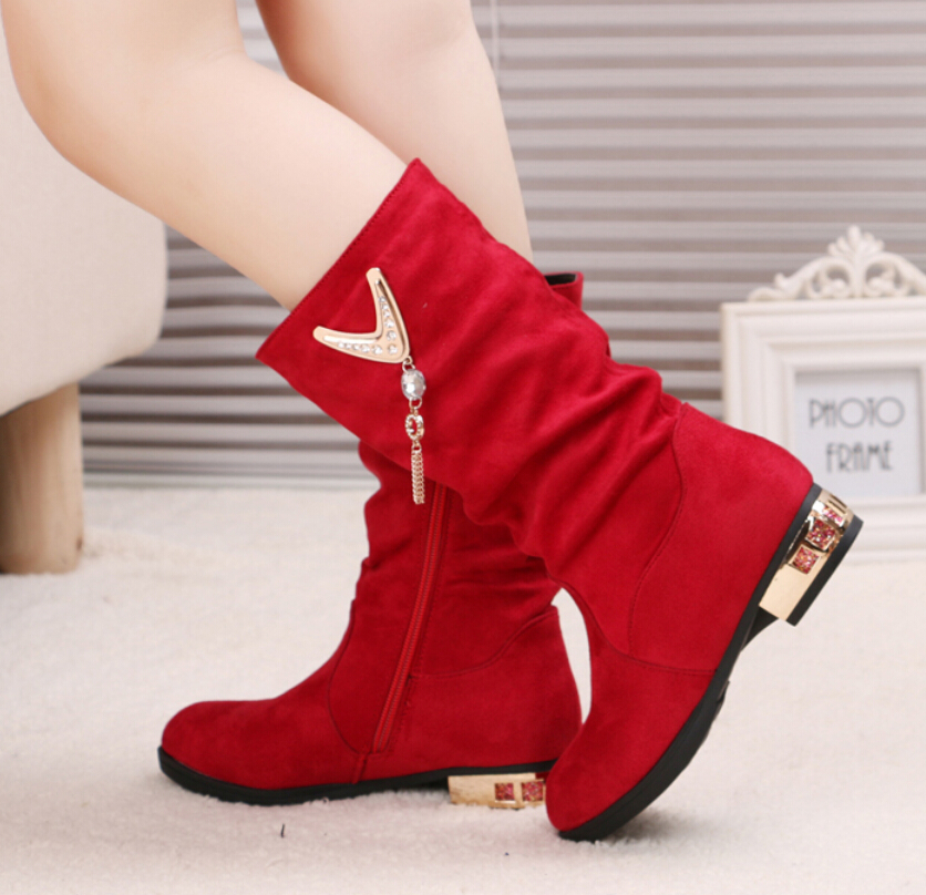 Size 26-37 Retail Trendy Princess Elegant Rhinestone Girl High-Leg Boots Autumn Winter Female Children Cotton Anti Slip Shoes - SAR store