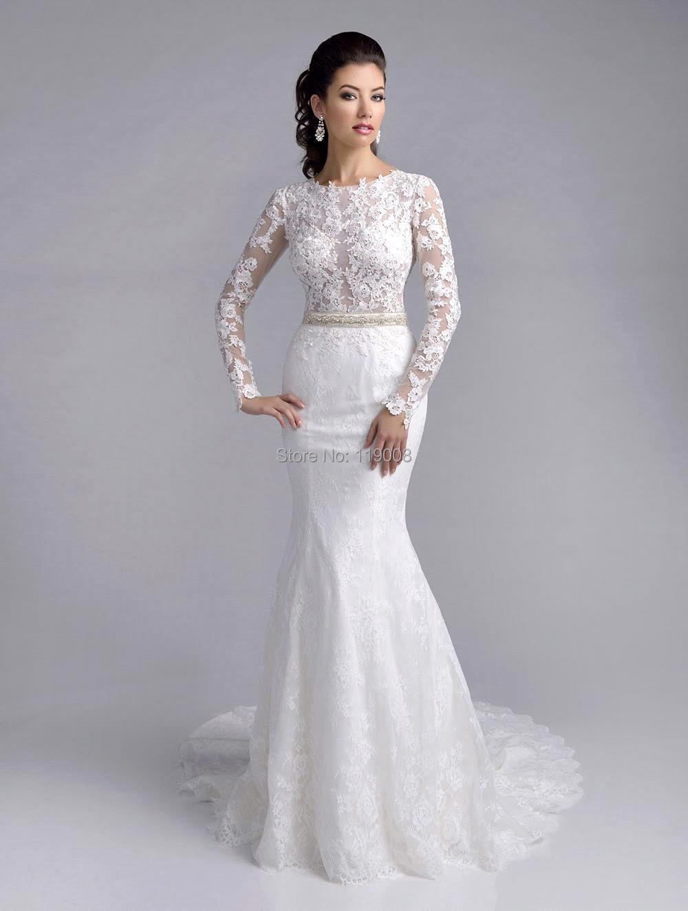 New Arrival 2016 Vestido De Noiva Sereia Lace Long Sleeve Mermaid Wedding Dre