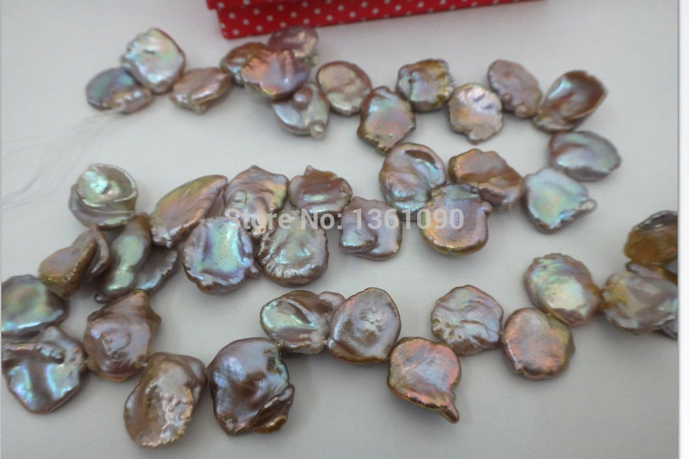 000488 16-18MM NATURAL SOUTH SEA GENUINE GOLD PINK LAVENDER PEARL NECKLACE (A0329)(China (Mainland))